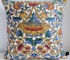 Liberty Morris Vintage Blue Lodden Linen & Plum Velvet Fabric Cushion Cover