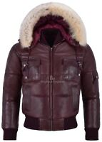 Men's Puffers Hooded Bomber Jacket Cherry Real Leather Pilot Puffy Hoodie Jacket