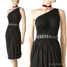 DOLCE & GABBANA D&G black goddess grecian one shoulder DRESS size UK 8 USA 4 40