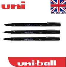 3 x UNI PIN DRAWING PEN FINELINER ULTRA FINE LINE MARKER IN BLACK 0.1