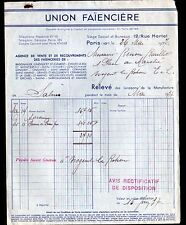 """SALINS / PARIS (39 / X°) FAIENCE / FAIENCERIE """"UNION FAIENCIERE"""" en 1938"""
