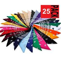 25 x Paisley BANDANA COTTON Head Wrap Neck Scarf ASSORTED COLOURS Black Red