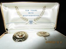Gold Filled Earrings Clip On with Westinghouse Electric Company Logo 10 Years