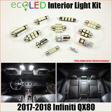 Fits 2017-2018 Infiniti QX80 WHITE LED Interior Light Accessories Kit 13 Bulbs
