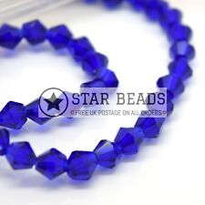 115 X Faceted Bicone Crystal Glass Beads 4x3mm - Pick Colour Royal Blue