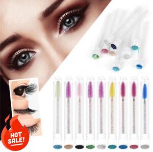 50 Pcs Reusable Eyebrow Brush Tube Disposable Dustproof Sparkling Eyelash Tool
