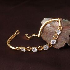 "Cool 24k yellow gold filled white sapphire aeonian PARTY bracelet 7""9.2 g"