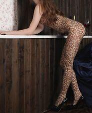 Leopard Catsuit Bodystocking Dessous Nylon Netzbody Fishnetz Fetisch Club Wear