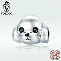 Voroco Authentic 925 Sterling Silver Charm PoodleDog Bead For Bracelet Jewelry