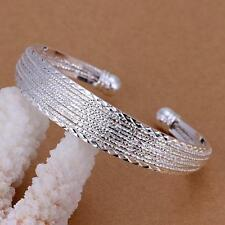 Women's Fashion Jewelry 925 Silver Plated Multi Open Wire Cuff Bracelet 16-1