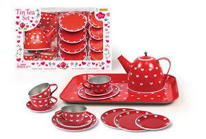 RED HEART TIN TEA SET