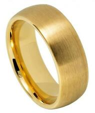 8mm Wedding Band Ring Yellow Gold IP Plated Brushed Domed Classic Style Sz 7-12