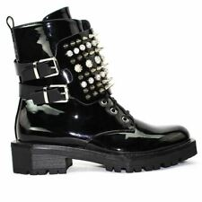Womens Ladies Biker Boots with Spikes, Diamontes, Buckles, Ankle Boots Size 3-8