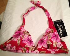 Swimsuit Top Size 12 Bikini Halter Red Pink Brown Floral Removable Pads SIA $39
