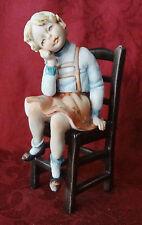 Capadimonte Adorable Little Girl Sitting On Chair Vintage Signed D Bonalbel-L D1