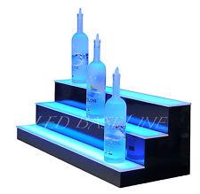 """34"""" Led Lighted Bar Bottle Rack Shelves, Remote Color Changing, Three Steps"""