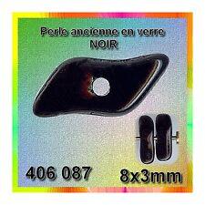 "406087*40 perles anciennes NOIR ""racine corail"" 6x5mm"