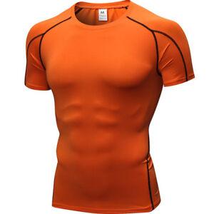 Men's Tight Short Sleeve T-Shirt Fitness Running Quick Dry Elastic Sports Tops