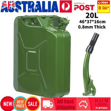 20L Jerry Can Green Steel Gasoline Gas Fuel Tank with Pouring Spout 0.8mm Thick