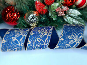 CHRISTMAS WIRED EDGE RIBBON 2.5 IN WIDE GLITTER BELLS WRAP GIFT WRAPPING BULK