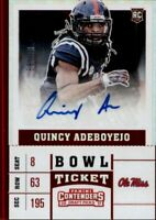 Quincy Adeboyejo 2017 Contenders Draft Picks BOWL TICKET AUTO #'d /99 PATRIOTS