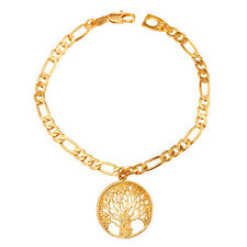 Charms Bracelet Platinum Plated Chain Jewelry 18K Gold Plated Round Tree of Life