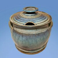 Rare EDGECOMB POTTERS Maine Tureen Lidded Studio Pottery Drip On Blue hand-made