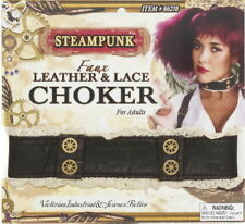 SteamPunk Cosplay Victorian Leather & Lace Gears Choker New Unused Sealed