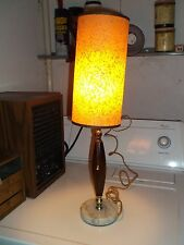 "Vintage Marble Wood Table Lamp  w/ Beautiful Vintage Shade 20 1/4"" High  Works"