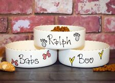 Small dog bowl cat bowl hand painted personalised ceramic pet dish whimsical