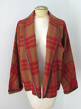 Vtg Calvin Klein tan red plaid blanket cropped open jacket coat shawl collar 6