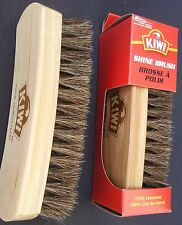 "KIWI SHOE SHINE BRUSH 100% Horsehair 5.8"" X 1.8"" Oak Handle NEW 1 Brush/Pk"