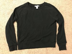 Women's Juniors FOREVER 21 Solid Black Cotton Casual PullOver SweatShirt Medium