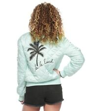 NWT Juicy Couture Womens Satin Puffer Jacket Surf Spray Mint Green-Extra Large