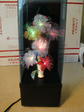 Vintage, FIBER OPTIC Color-Changing Lighted FLOWER DISPLAY Lamp w/ music, Taiwan