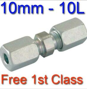 10L EQUAL STRAIGHT HYDRAULIC COMPRESSION FITTING/COUPLING TUBE PIPE JOINER 10mm