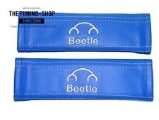"""2x Seat Belt Covers Pads Blue Leather """"Beetle"""" Embroidery for Volkswagen"""