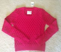 New Justice Girls Fuchsia Pink Lurex Open-Weave Knit Sweater, Sz 14 NWT