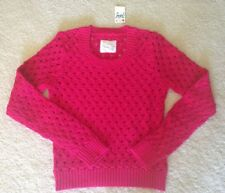 New Justice Girls Fuchsia Pink Lurex Open-Weave Knit Sweater, Sz 14 NWT