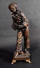 Antique French Bronze Sculpture - Pierrot au Claire de Lune - by Eutrope Bouret