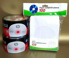 100 HP Blank DVD-R Logo 16X 4.7GB (50pkx2) Media Disc + 100 White Paper Sleeves