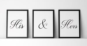 His and Hers set of 3 A4 Poster Prints PO162