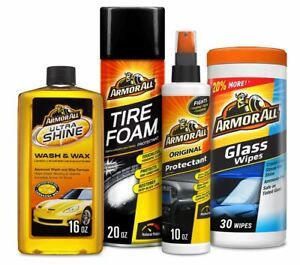Car Care Kit Gift Pack Armor All 4-Piece Complete Auto Detailing Wax Clean Wipe