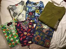 6 nursing uniform tops, size small TL, Landau, Peaches, Beverly Hills, Dickies