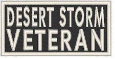 DESERT STORM VETERAN Iron-On Patch Biker Military Morale Emblem  White Border
