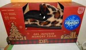Dearfoams Women's Velour Slippers XL 11-12 Leopard Print New In Box