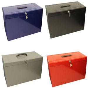 Lockable Foolscap Metal File Box Filing Storage extr/inc 5 Free Suspension Files