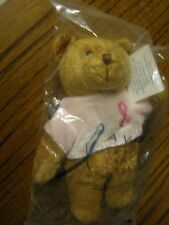 """3244) Avon Breast Cancer Crusade Tan Bear Pink Shirt Breast Cancer Ribbon 6.75"""""""