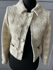 Morgan De Toi Cream Wool Mix Military Style Coat Jacket Size Small