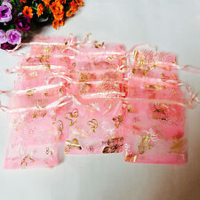 100pcs Butterfly Drawstring Organza Jewellery Bags Xmas Candy Wedding Supplies
